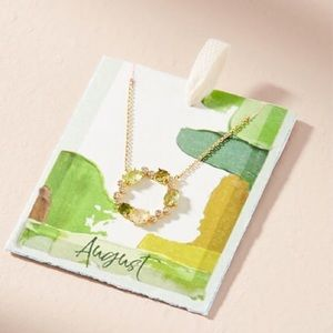 ANTHROPOLOGIE AUGUST BIRTHSTONE INFINITY NECKLACE